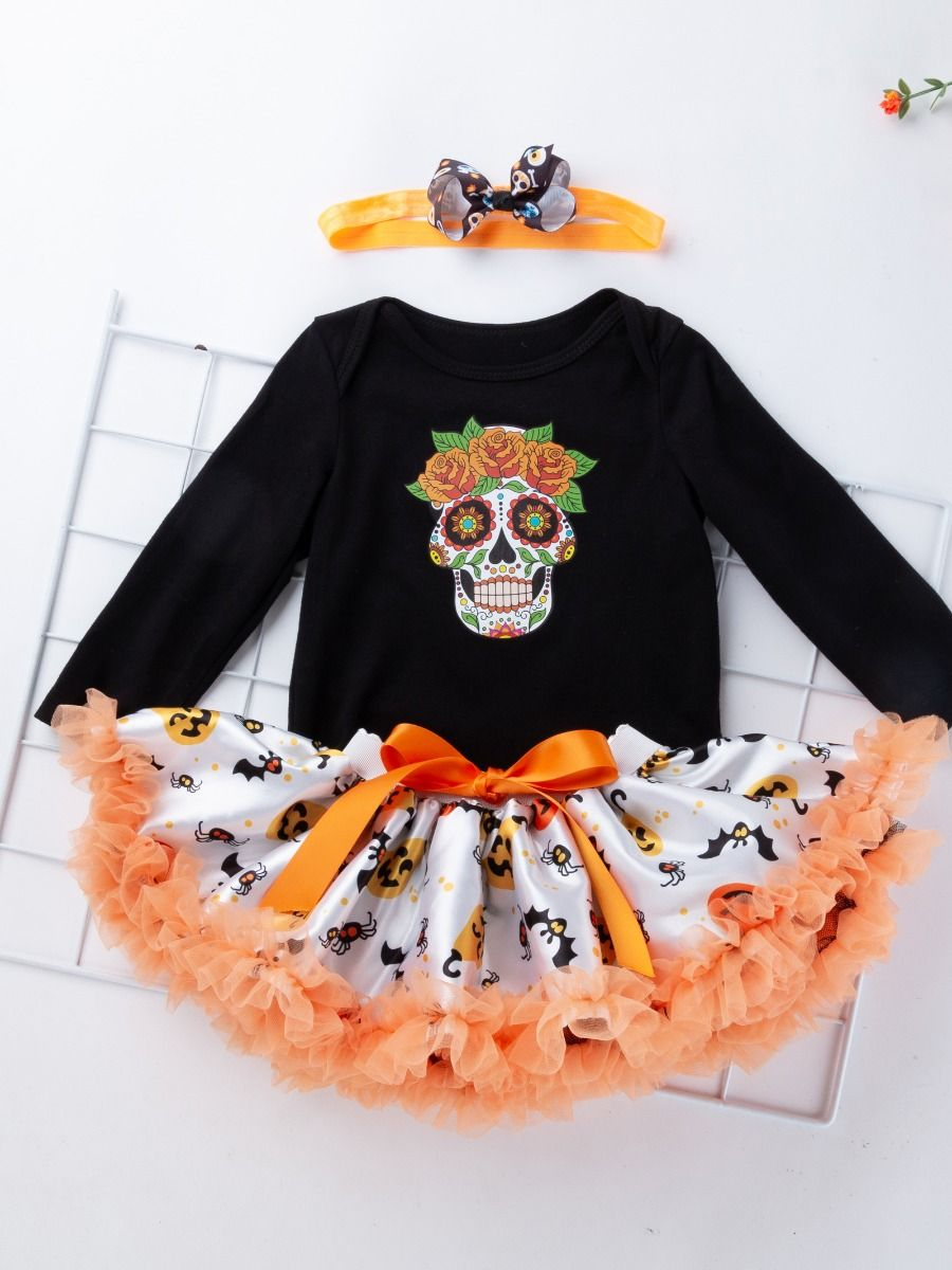 67c9faabc 3PCS Infant Halloween Costume Outfit Death's-head Flower Print Romper Onesie  Bowknot Tulle Founcing Dress ...