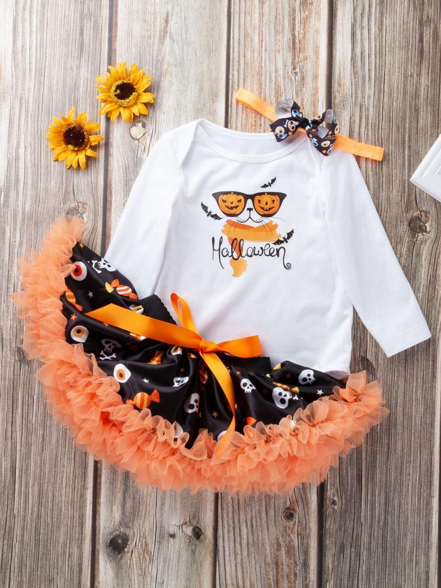 ... 3PCS Baby Toddler Girls Halloween Clothing Set Pumpking Lamp Bat S Skull Candy Print Onesie Bodysuit ...