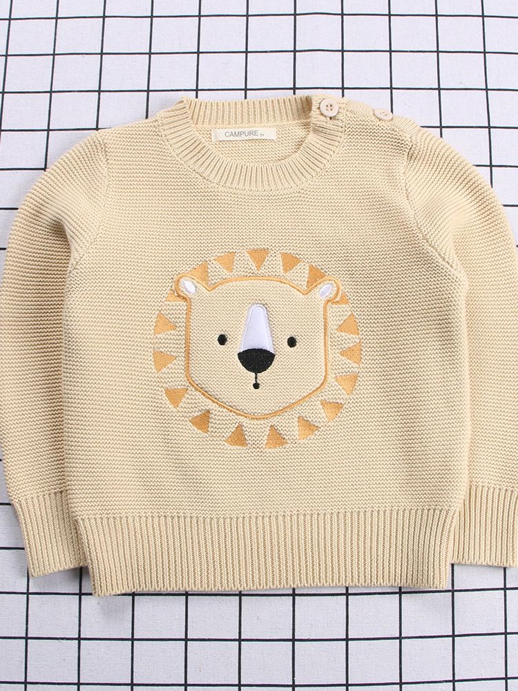 e04df695b Tap to expand · Winter Cute Bear Lion Embroidery Pattern Sweater Jumper  Classic Crew Neck Knitwear for Baby Toddler Kids ...