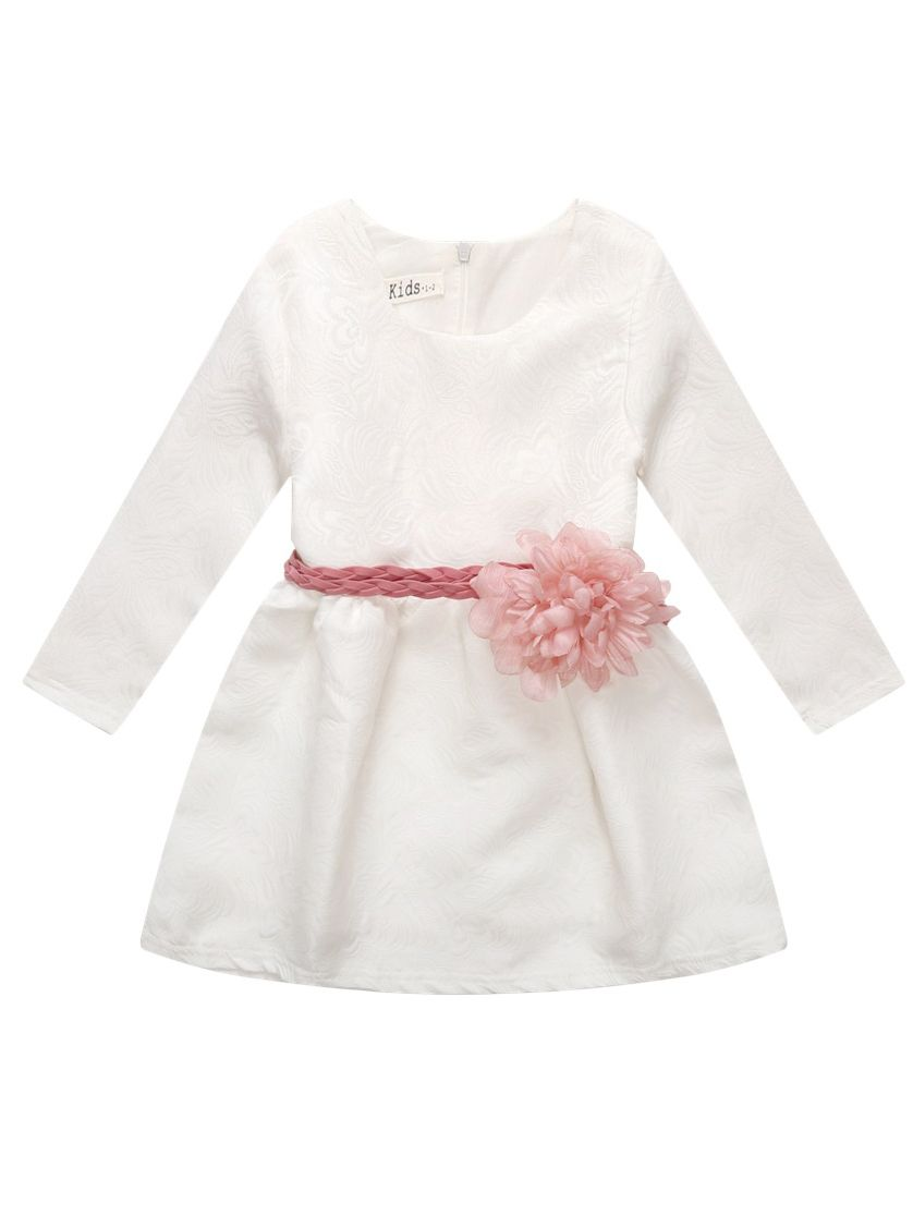 32d81dd6271 Toddler Big Girls Floral White Christening Dress with Big Flower Belt  Christening Gowns and Baptism Outfits ...