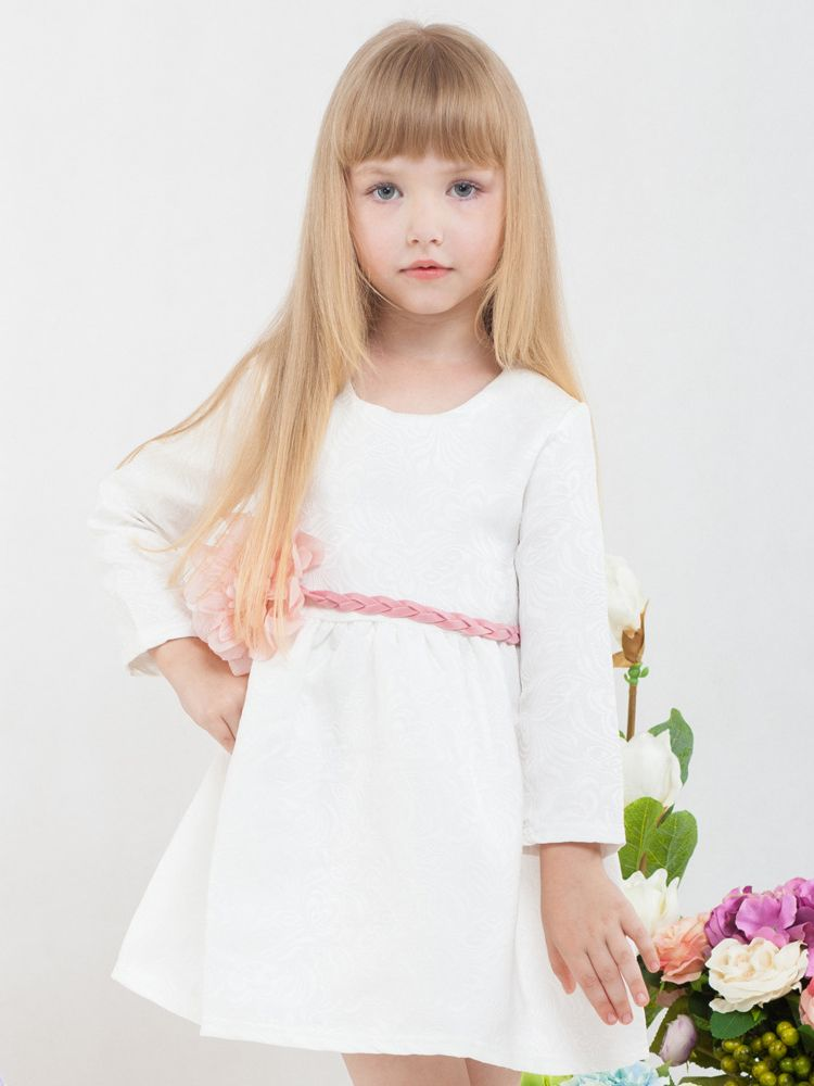 8b825b70ddf ... Toddler Big Girls Floral White Christening Dress with Big Flower Belt  Christening Gowns and Baptism Outfits ...