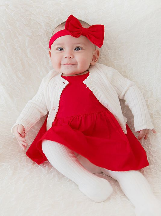 ... 3PCS Baby Birth Day Party Dress Cardigan Headband Set Red Elastic Hair  Band + White Knitted ... e8fd53444c2