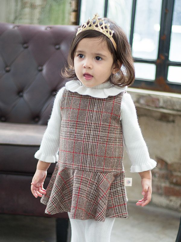 a3bed3b89d68 Wholesale Baby Sleeveless Winter Checked Dress Infant