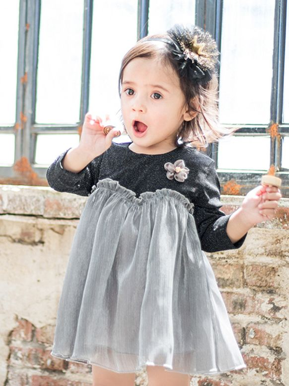 ... Baby Girl Cute Tulle Princess Dress with Chest Little Flower Long  Sleeve for Winter ... c52293d0cf2b