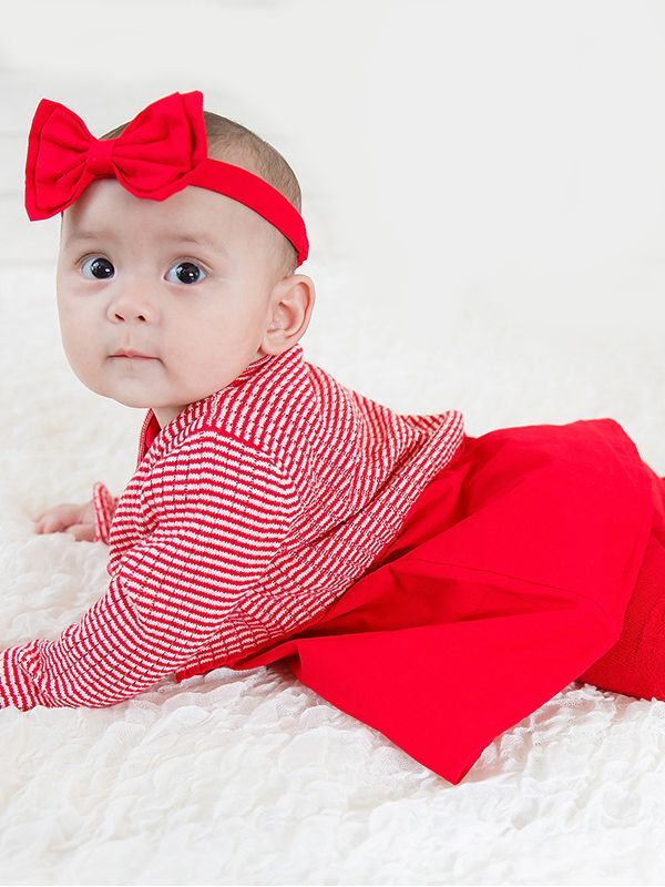 8e20f600a ... 3PCS Winter Party Cotton Cardingan Dress Set Red Big Bow Headband +White  and Red Striped ...