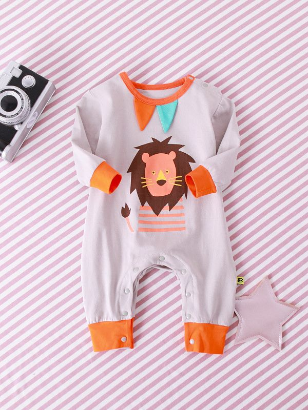 4ddd0a4c43 Tap to expand · Cartoon Elephant Lion Rabbit Print Baby Romper Crawling  Clothes for Toddler Girls Boys Long ...
