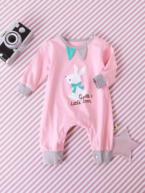 0c3c683fa3 ... Cartoon Elephant Lion Rabbit Print Baby Romper Crawling Clothes for  Toddler Girls Boys Long ...