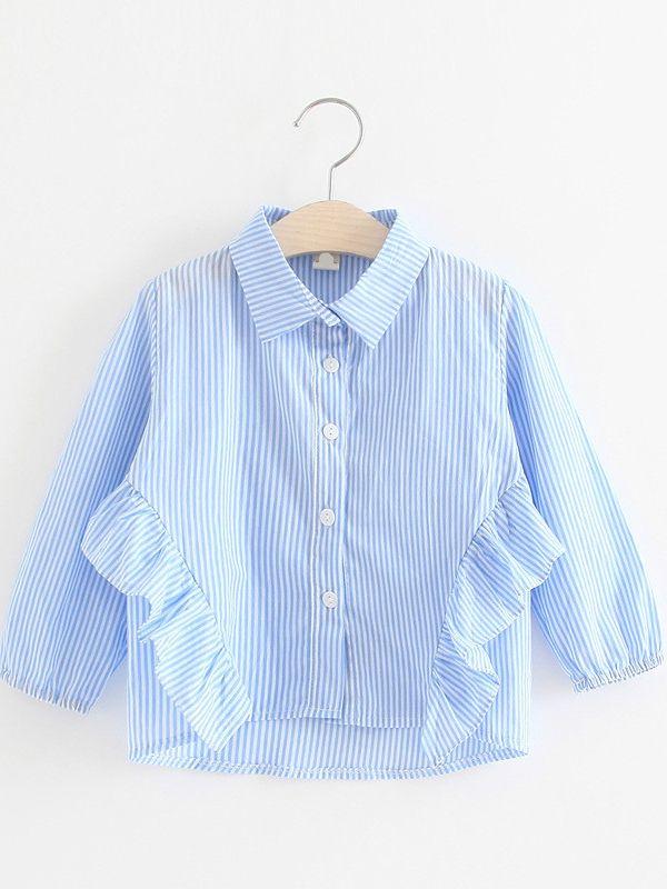 d9e9b4e610c1 Casual Kids Girls Vertical Striped Ruffled Blouse Clothes Long Sleeve T- Shirt Top Light Blue ...