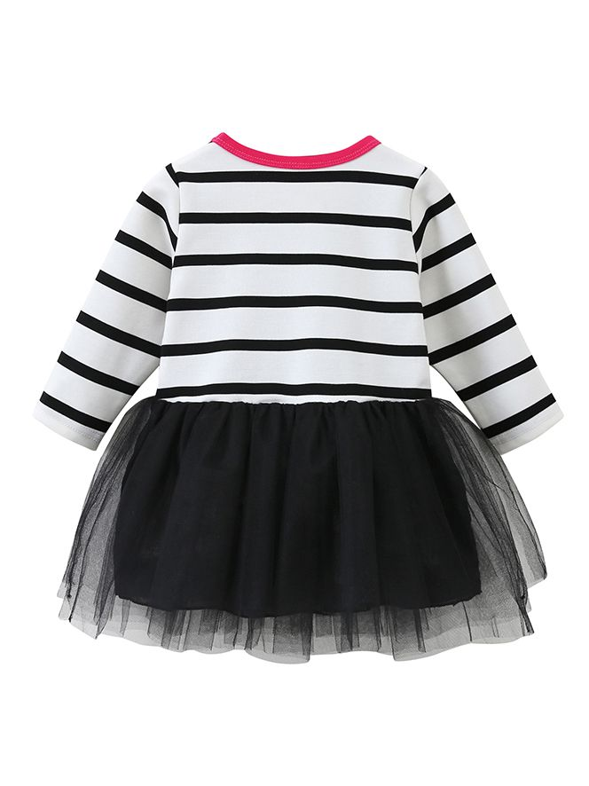 5ea843ec8d2e ... Fashion Love Heart Embroidery Flower Tulle Dress Striped Layered Kids  Frock Long Sleeve ...