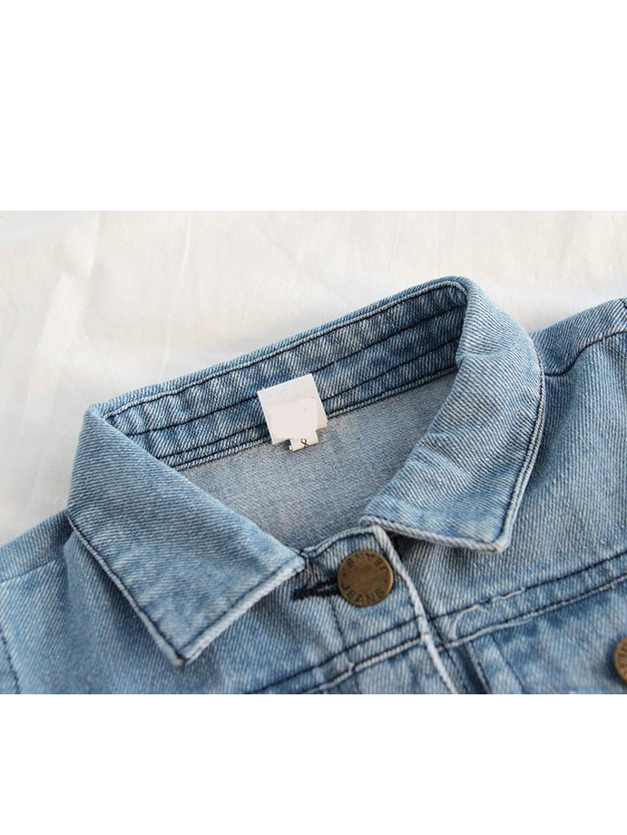 01a47273d2 ... Stylish Rainbow Embroidered Denim Jacket Kids Big Girls Jeans Jacket  for Autumn Winter ...