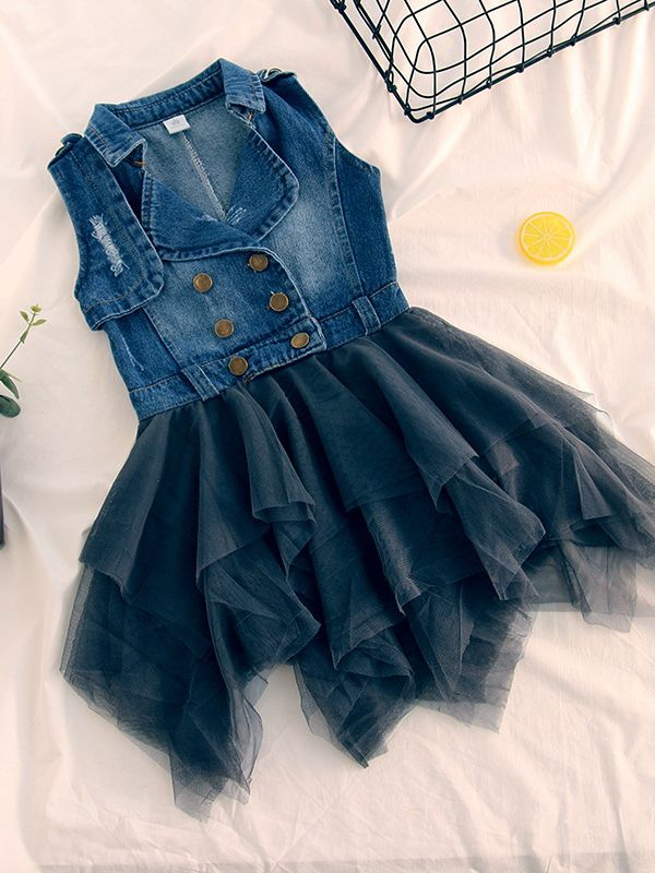 2c5e10caee ... Fashion Sleeveless Toddler Kids Girl Denim Patchwork Tulle Dress Cute  Girl Casual Dress ...