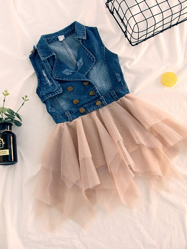 37a1877548 Fashion Sleeveless Toddler Kids Girl Denim Patchwork Tulle Dress Cute Girl  Casual Dress ...