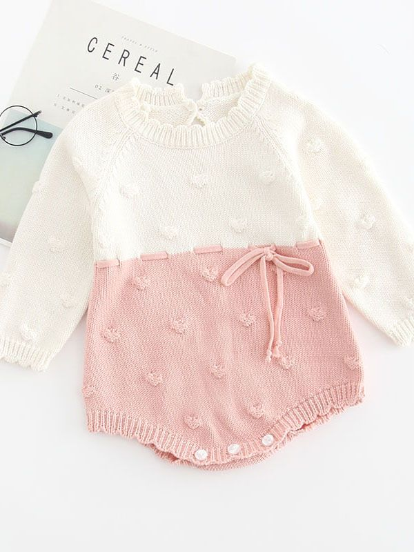 5e7c4ae5a971 Color Block Knitted Baby Romper Bow Long Sleeve Infant Girl Bodysuti Onesie  for Autumn ...