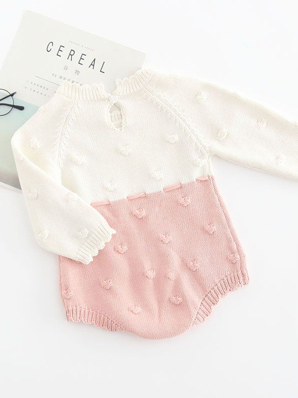 63a8162a1644 ... Color Block Knitted Baby Romper Bow Long Sleeve Infant Girl Bodysuti Onesie  for Autumn ...