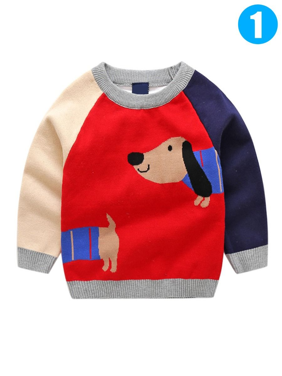 d44e92d89a Color Block Dog Pattern Knitted Cotton Sweater Boys Crochet Pullover Top  Long Sleeve for Fall Winter ...