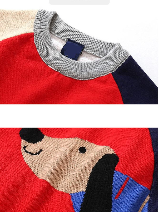 90a1b1f4d9 ... Color Block Dog Pattern Knitted Cotton Sweater Boys Crochet Pullover  Top Long Sleeve for Fall Winter ...