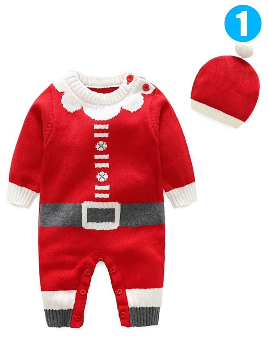 8b82581608bae 2PCS Xmas Baby Boys Girls Knit Romper Hat Set Outfit Baby Clothes Jumpsuit  Christmas Costumes Santa ...