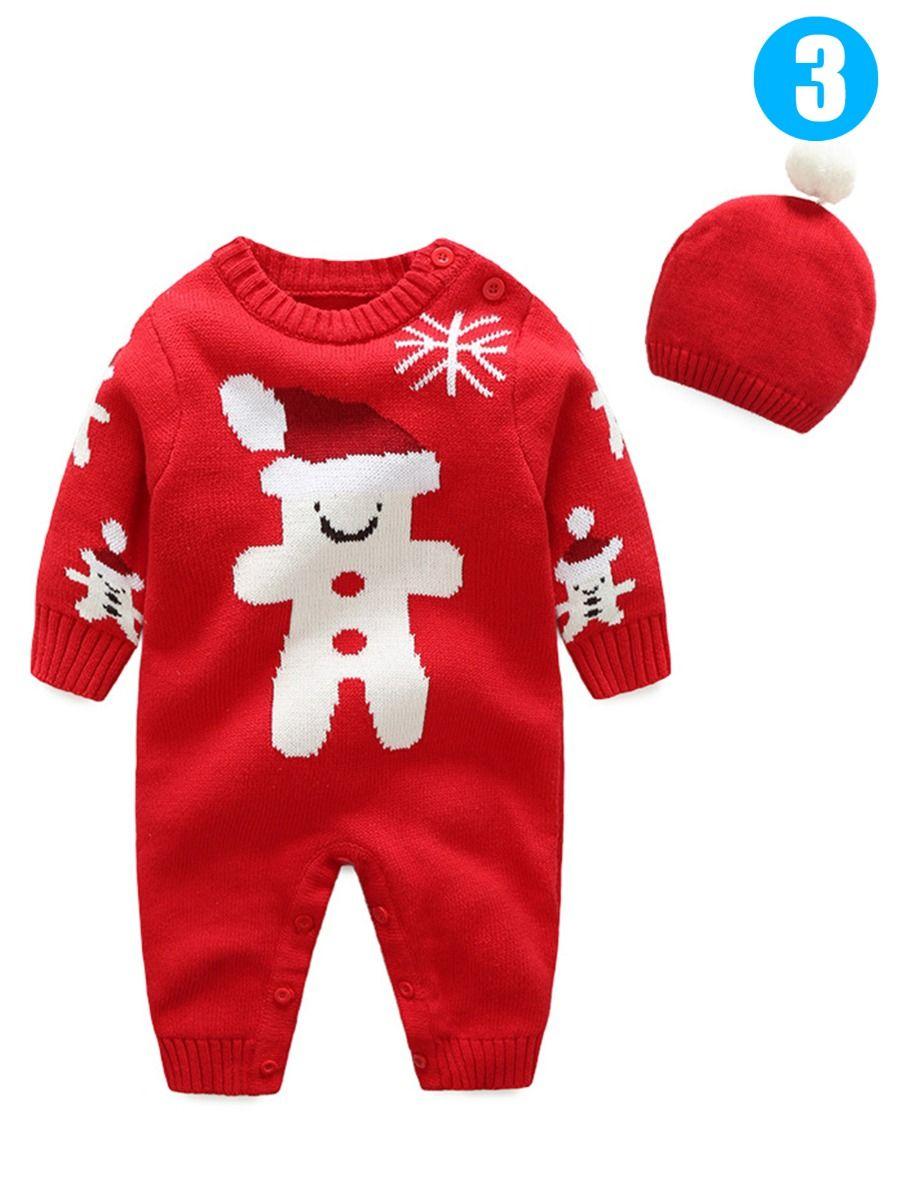 25677971dd06 Wholesale 2PCS Xmas Baby Boys Girls Knit Romper Hat Set
