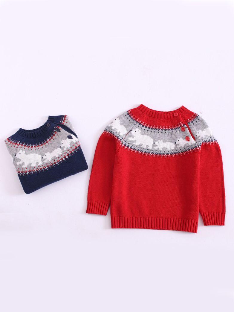 Mama Bear Printed Newborn Childrens Crew Neck Sweater Long Sleeve Warm Knitted Sweatshirt