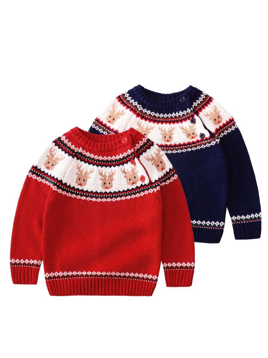12fb852fdd8d Wholesale Christmas Reindeer Crochet Sweater Baby Boy