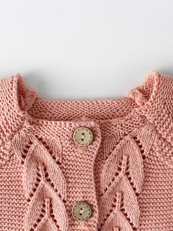 e3efd09076f ... Kiskissing pink Leaf Crochet Pattern Cotton Cardigan Baby Boy Girl Long  Sleeve Knitted Shirt for Autumn ...