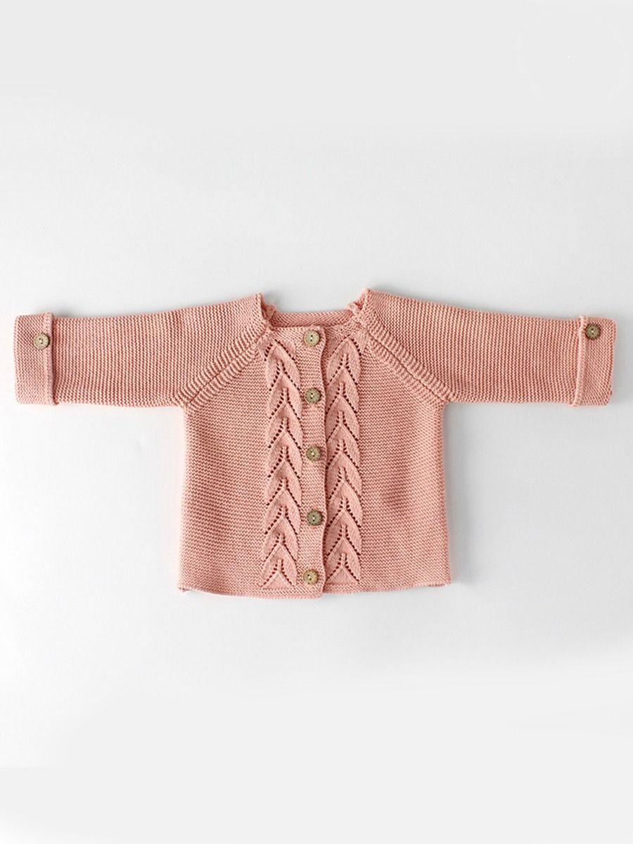 e20ea0994 Tap to expand · Kiskissing pink Leaf Crochet Pattern Cotton Cardigan Baby  Boy Girl Long Sleeve Knitted Shirt for Autumn ...
