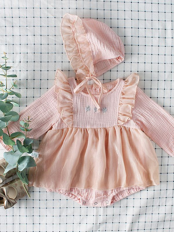 ef4a8b60034 Kiskissing 2PCS pink Baby Girl Romper Hat Set Flower Embroidery Party Romper  Skirt +Ruffled Detachable ...