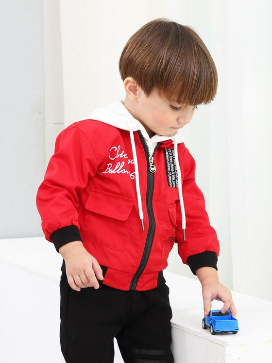brand new 4ce81 a9358 Fashion Chicago Bulls.66 183 Trend Letters Embroidery Windproof Jacket  Little Big Boys Coat with Flap Hand Pockets Blue/Red Wholesale