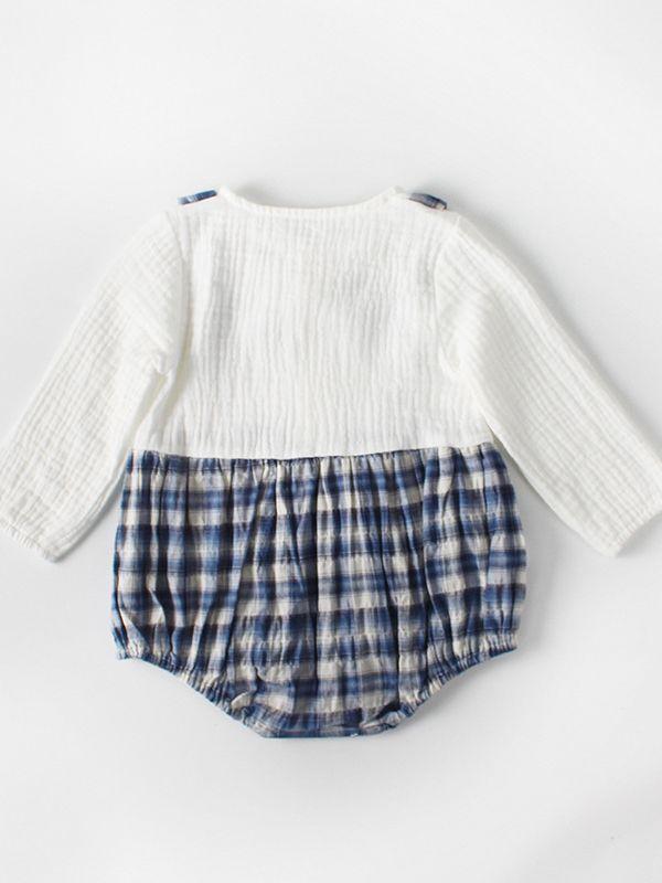 e346e2e26 ... Checked Baby Boy Cotton Romper Onesie Long Sleeve Spanish Style Baby  Clothes ...