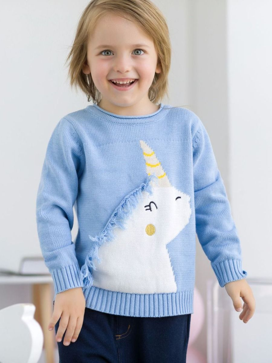 36fdadb35 Tap to expand · Kiskissing Cute blue Unicorn Pattern with Tassel Cotton  Sweater Baby Toddler Boys Girls Knitted Jumper Long ...