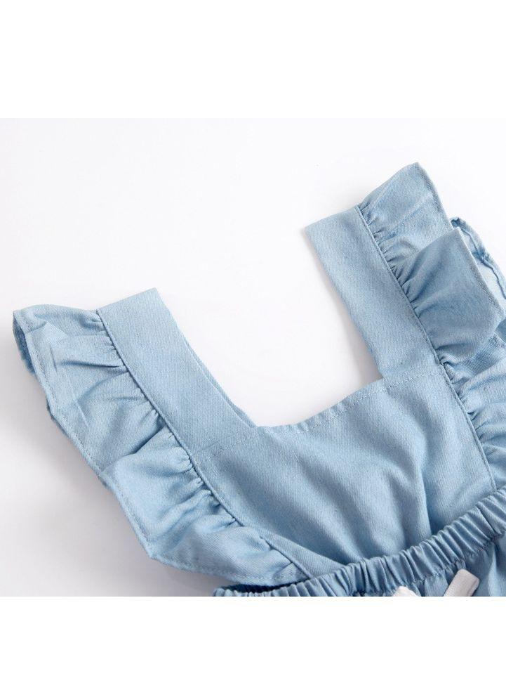 08b4cadb5a57 ... Blue Demin Ruffled Spanish Baby Romper Sleeveless Summer Baby Onesie ...
