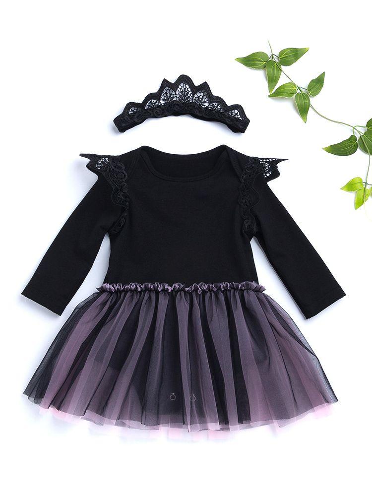 d710efb7b Wholesale 2-pieces Black Dress-like Romper Headband Set