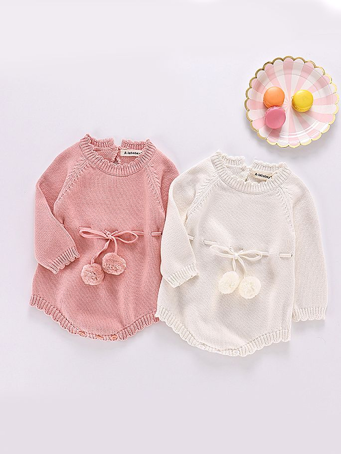 d9d966fdb887 ... Kiskissing Autumn Spanish Style Cotton Baby Romper Knitted Infant Girl  Bodysuit with Ball Trimmed Long Sleeve Kiskissing pink ...