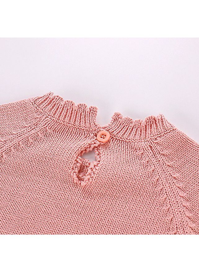 263ac54ff663 ... Kiskissing Autumn pink Spanish Style Cotton Baby Romper Knitted Infant  Girl Bodysuit with Ball Trimmed Long ...