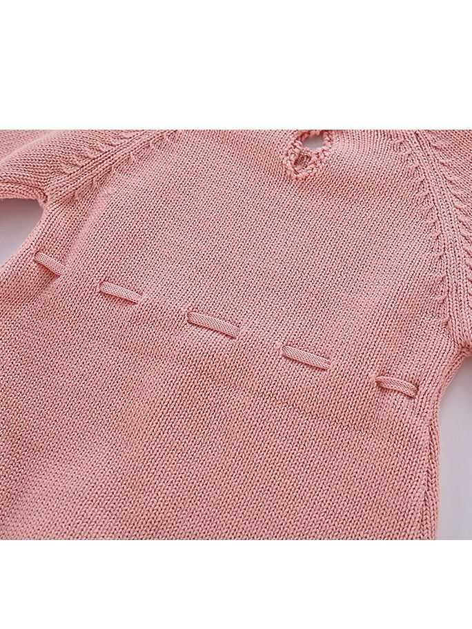 511c2178c2ec ... Kiskissing Autumn Spanish Style Cotton Baby Romper Knitted Infant Girl  Bodysuit with Ball Trimmed Long Sleeve ...