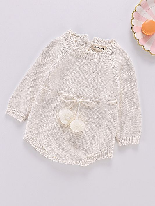 bd8e096173d4 Kiskissing Autumn Spanish Style Cotton white Baby Romper Knitted Infant  Girl Bodysuit with Ball Trimmed Long ...