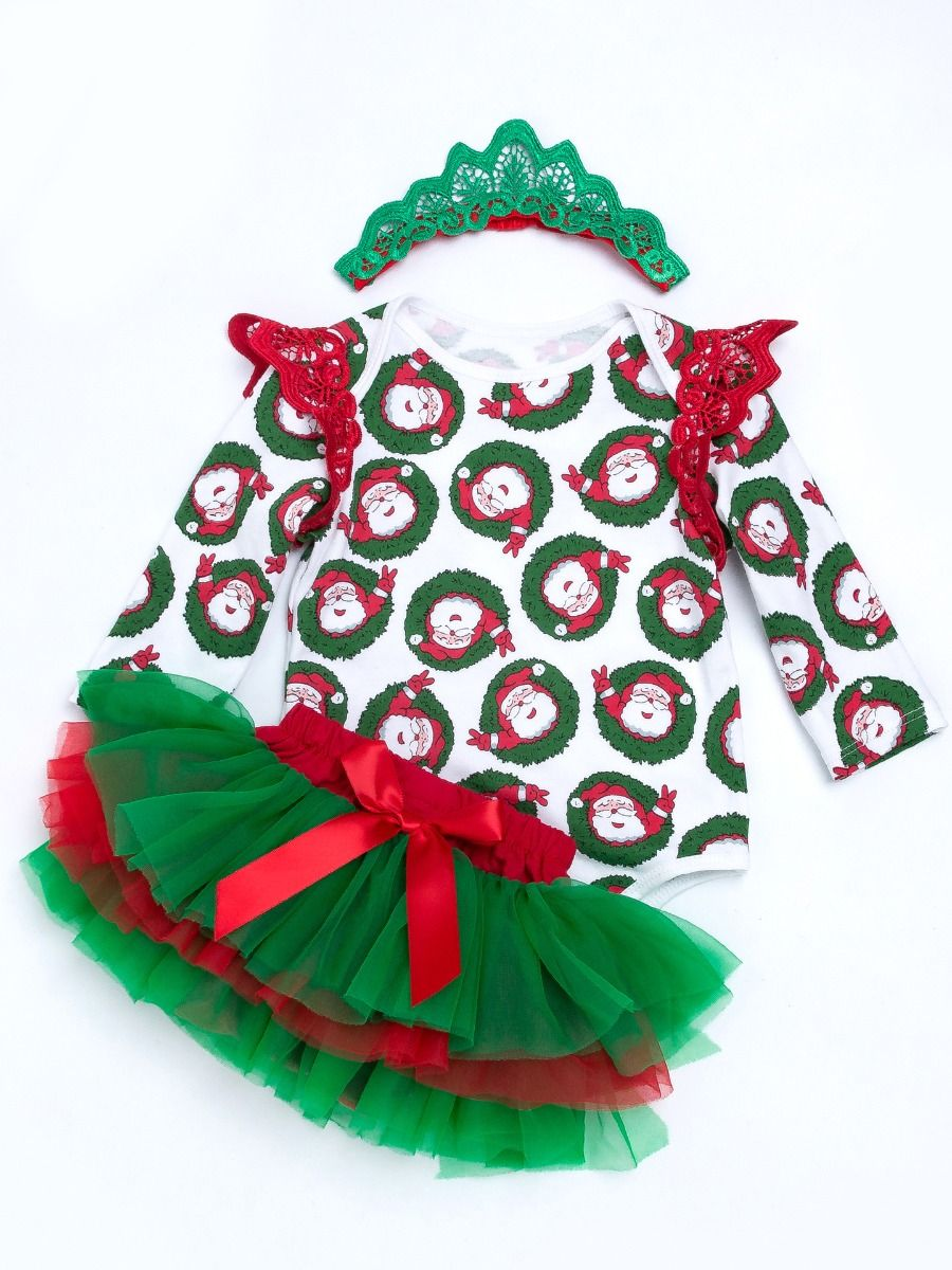 3Pcs Newborn Baby Kids Girl Christmas Clothes Romper Tops Tutu Skirt Outfits Set