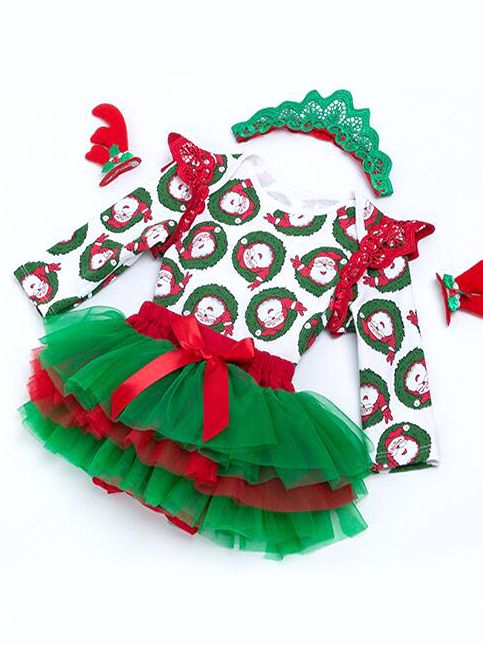 FYMNSI Newborn Baby Girls My First 1st Christmas Outfit Long Sleeve Romper Baby Grow Bowknot Tutu Skirt with Headband 3pcs Set Toddler Kids Xmas Party Dress Bodysuit Clothes for 0-18 Months