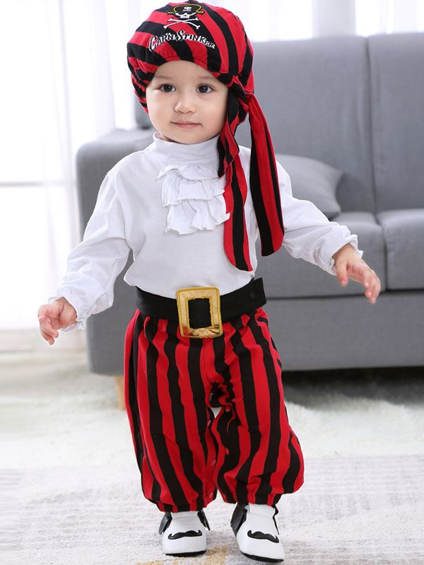 831772beedd 4PCS Halloween Baby Corsair Pirate Costume Set Cap'N Stinker Pattern  Striped Hat+Color Block Long Sleeve Bodysuit+Black Vest+Belt