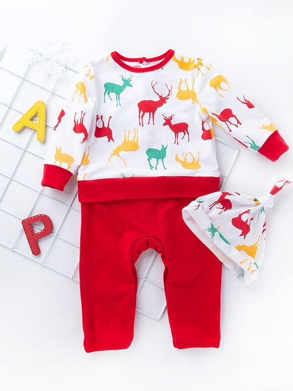 Toddler Christmas Outfit.Reindeer Christmas Tree Print Infant Baby Romper Bodysuit With Hat Toddler Christmas Clothes Outfit