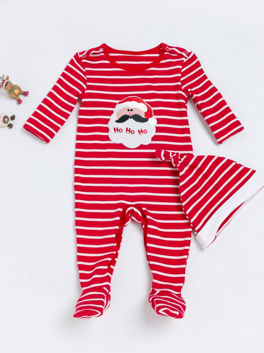 7b2cbc3781a89 2PCS Xmas Outfit Clothes New Born Baby Boy Girl Christmas Santa Clause  Striped Footed Romper Jumpsuit ...