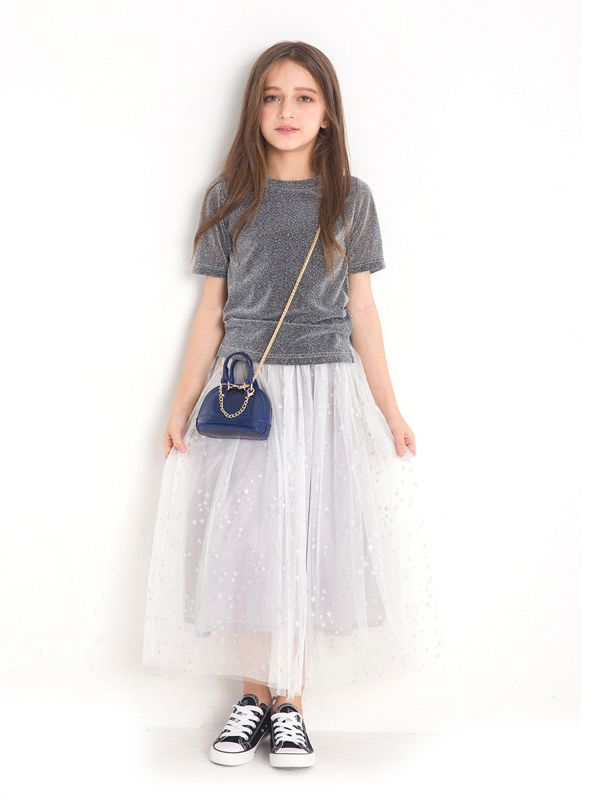 67157a079 ... 2PCS Fashion Junior Big Girl Summer Dress Set Shiny Short Sleeve T-shirt  Top + ...