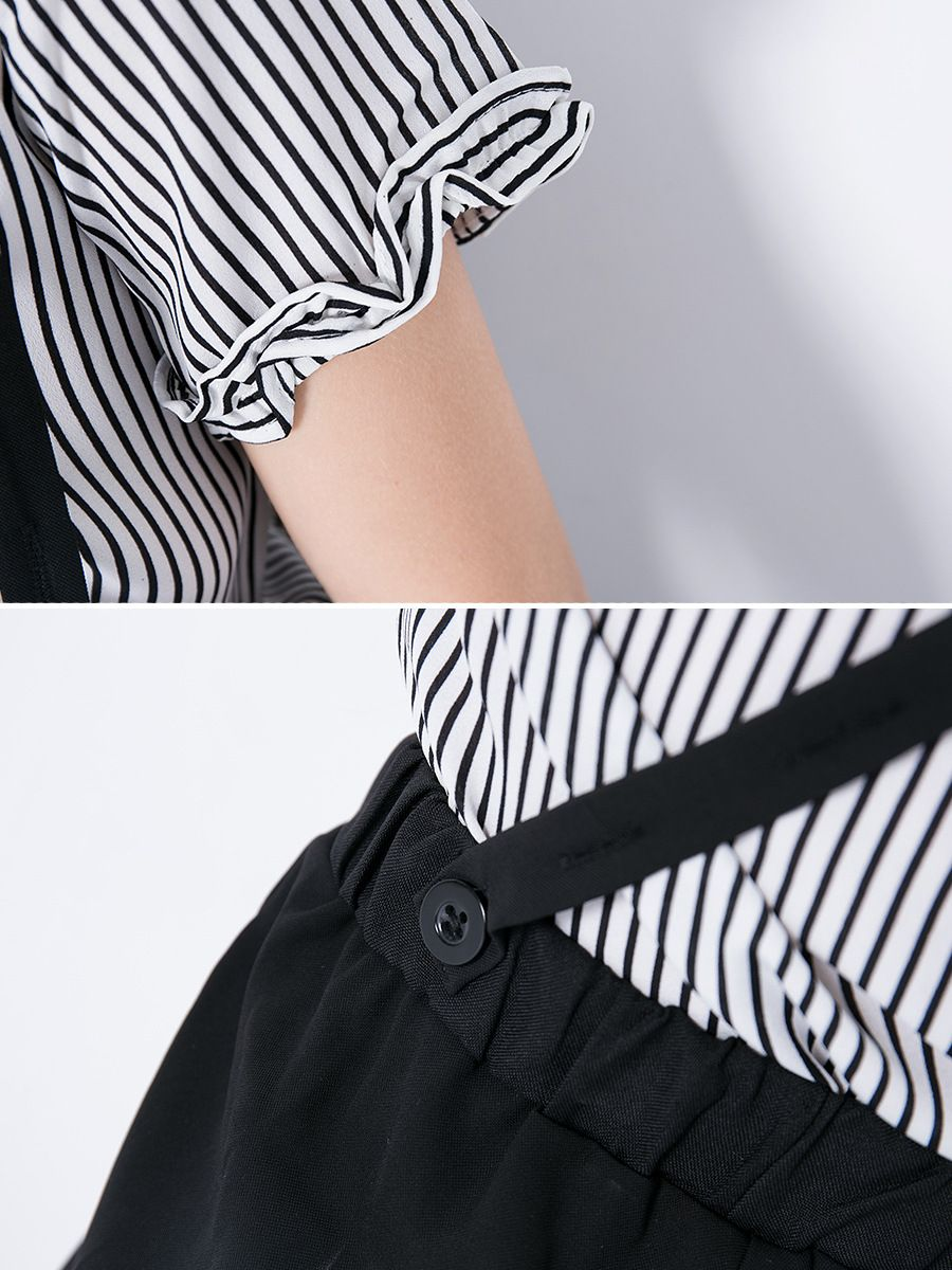 5636f18ba655 ... 2PCS Junior Big Girl Summer Top and Trousers Clothes Set Casual Letter  Print Striped T-