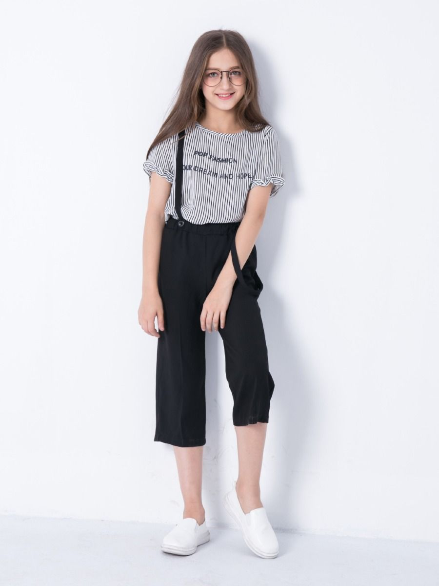 a4fdc250482c ... 2PCS Junior Big Girl Summer Top and Trousers Clothes Set Casual Letter  Print Striped T- ...