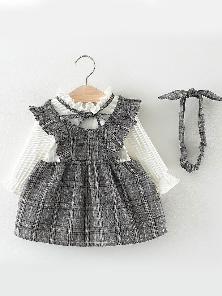 Wholesale Spanish Style Checked Ruffled Baby Girl Dress,Gray And Beige Bedroom