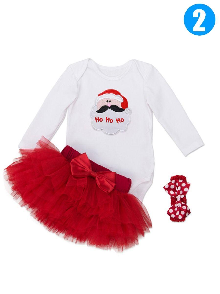 e12b544f7 ... 3PCS Christmas Infant Girl Romper Skirt Set Santa Clause/Love Heart/Cake/Ice  ...