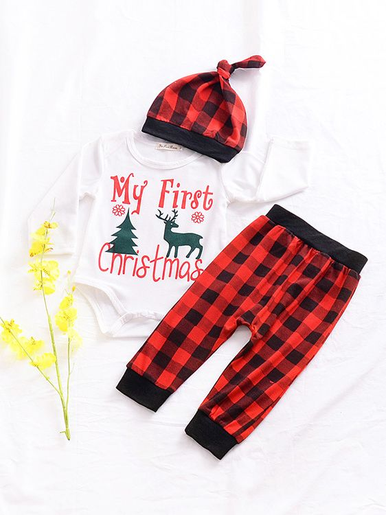 ... 3PCS Baby Christmas Romper Set My First Christmas Tree Deer Print  Romper Top+Checked Long ... ec8225505ffc