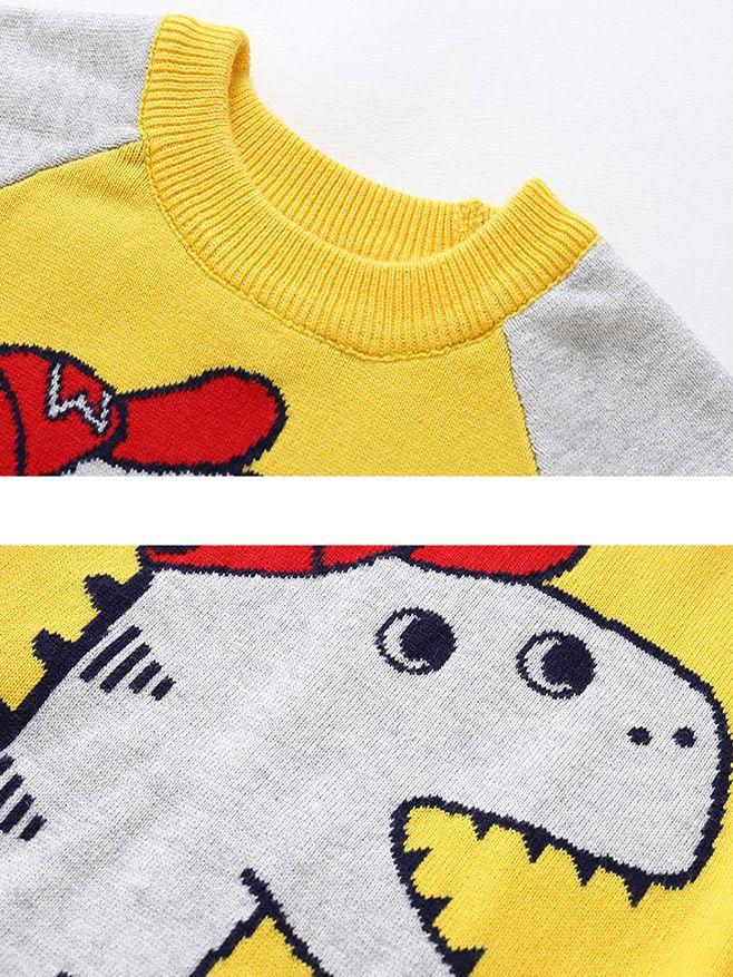 de84520fa ... Dinosaur Crochet Color-blocking Sweater Baby Boy Sweatshirt Pullover  Long Sleeve ...