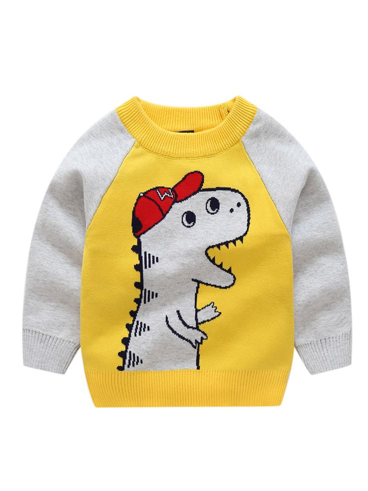 f61093022 Tap to expand · Dinosaur Crochet Color-blocking Sweater Baby Boy Sweatshirt  Pullover Long Sleeve ...