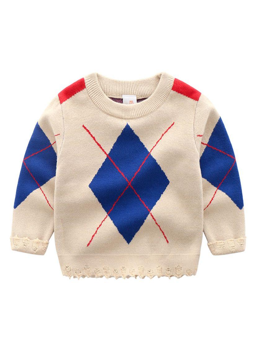 935dfb5e971f51 5PCS/PACK Classic Color-blocking Rhombus Crochet Jumper Big Boys Knitwear  for Autumn ...